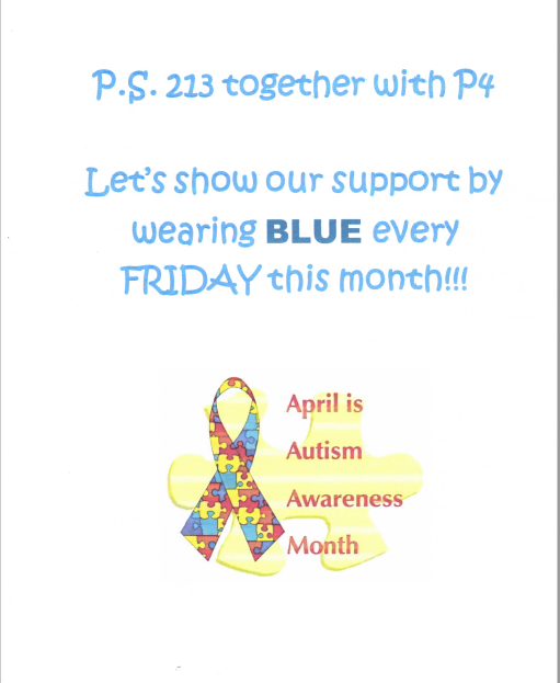 P4 & PS 213 celebrate Autism Awareness Month in April